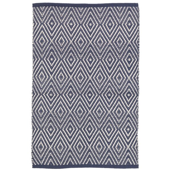 Diamond Blue/White Indoor/Outdoor Area Rug by Dash and Albert Rugs