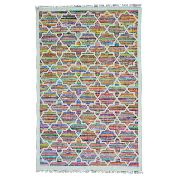 One-of-a-Kind Flat Weave Kilim Hand-Knotted Ivory Area Rug by Bungalow Rose