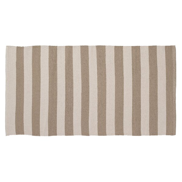 Awning Stripe Hand-Woven Beige/Cream Indoor/Outdoor Area Rug by Home Furnishings by Larry Traverso