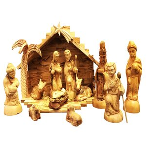 Traditional Olive Wood Nativity Set with Stable and 3-D Palm Tree