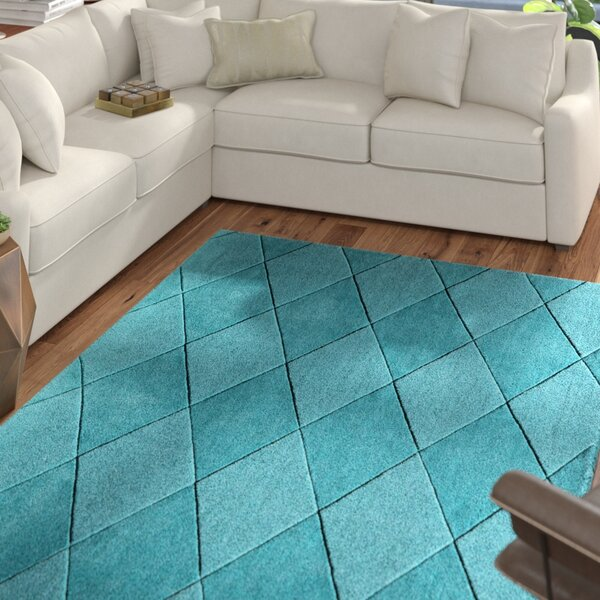 Bristol Hand-Tufted Teal Area Rug by Mercury Row