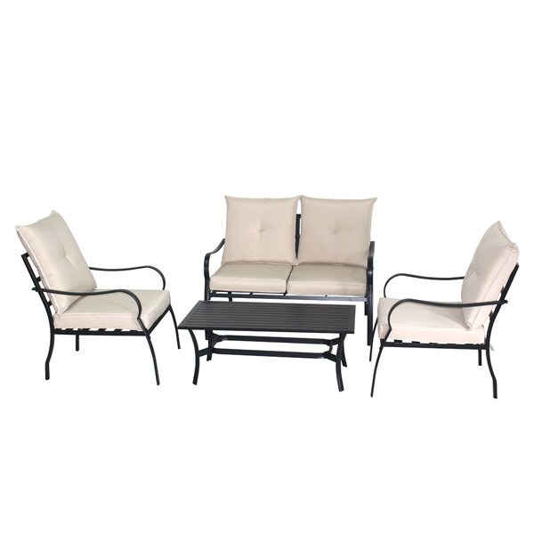 Ludvik 4 Piece Sofa Seating Group with Cushion by Winston Porter
