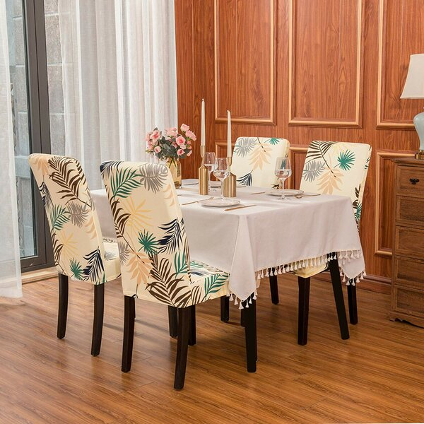 Review Ultra Soft Stretch Printed Leaf Fitted Dining Chair Slipcover (Set Of 4)