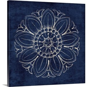 Rosette VII Graphic Art on Wrapped Canvas in Indigo by Great Big Canvas