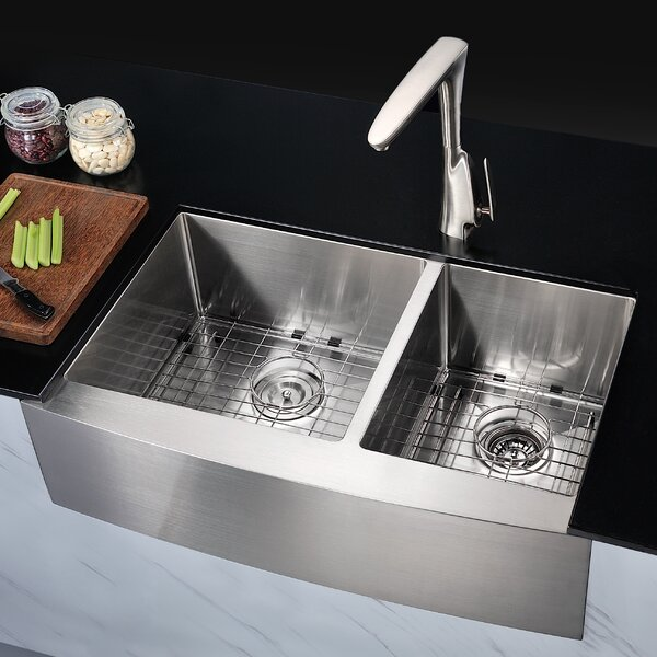 Elysian 32 88 L X 20 75 W Double Bowl Farmhouse Kitchen Sink With Drain Assembly By Anzzi.