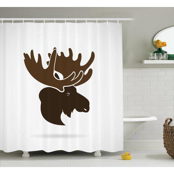 Auburn Canadian Deer Head Shower Curtain by Loon Peak