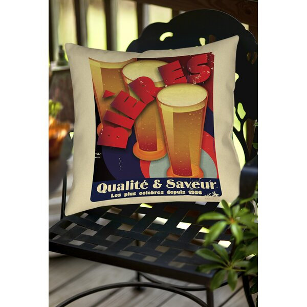 Bieres Qualite and Saveur Indoor/Outdoor Throw Pillow by Manual Woodworkers & Weavers