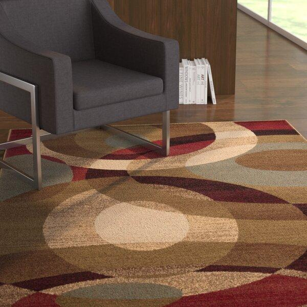 Douglasland Caramel & Tea Leaves Area Rug by Ebern Designs