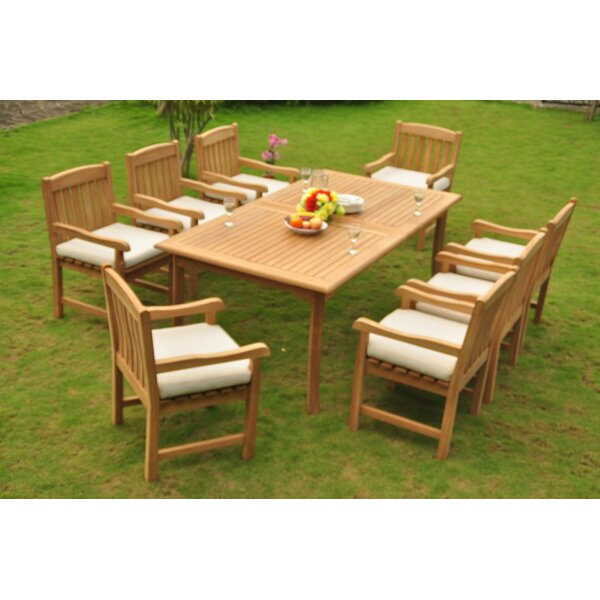 Dehon 9 Piece Teak Dining Set by Rosecliff Heights