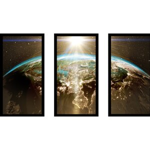 Planet Earth - Europe 3 Piece Framed Graphic Art Set by Picture Perfect International