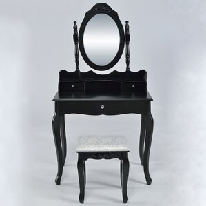 Wilmette Vintage Makeup Vanity Set with Mirror by Astoria Grand