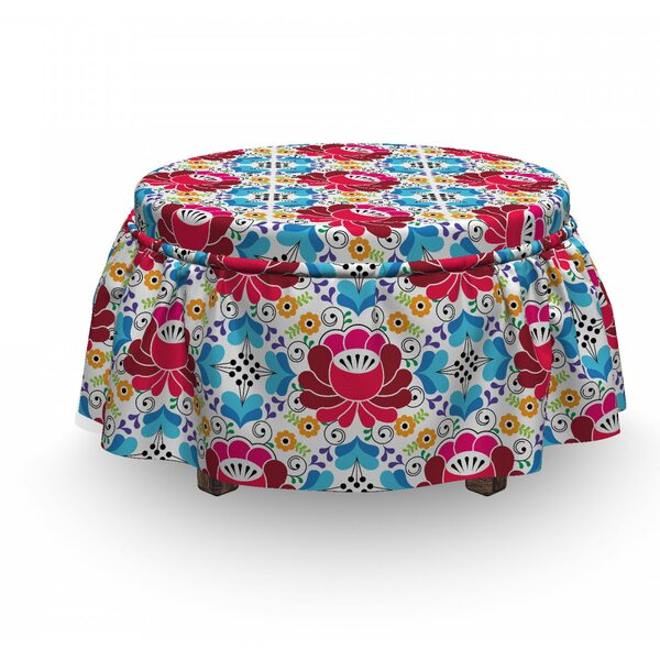 Slavic Russian Folk Floral Ottoman Slipcover (Set Of 2) By East Urban Home
