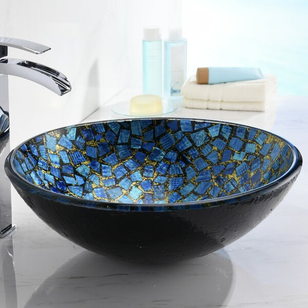 Mosaic Glass Circular Vessel Bathroom Sink by ANZZI