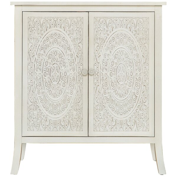 Whitt Antiqued Carved 2 Door Accent Cabinet by Bungalow Rose