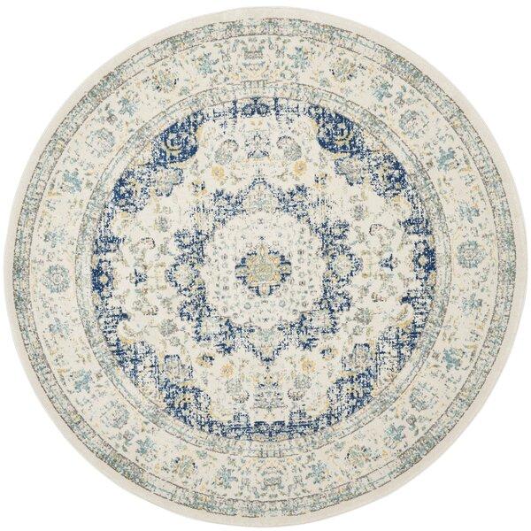 Elson Ivory & Blue Area Rug by Mistana