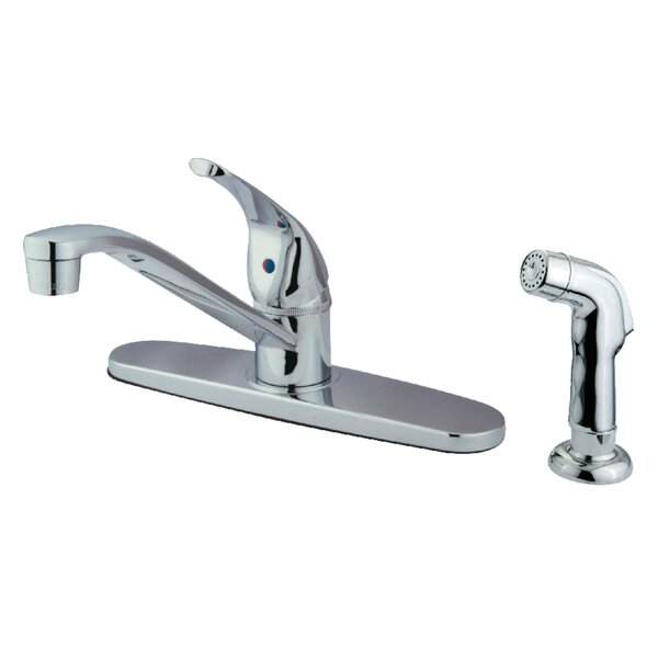Pull Out Single Handle Kitchen Faucet with Side Sprayer by Kingston Brass