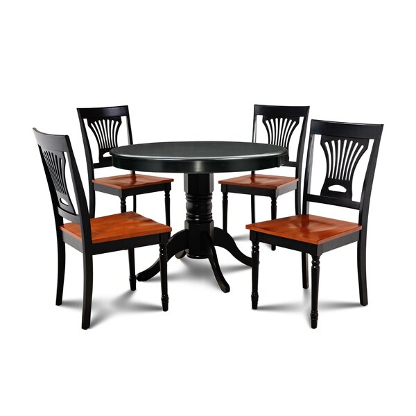Horgan 5 Piece Solid Wood Dining Set by August Grove