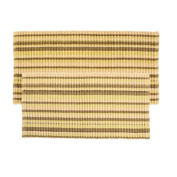 2 Piece Silk Ribbed Hand-Woven Flax Sage Area Rug Set by Ess Ess Exports