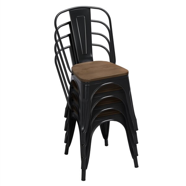 Valensia Slat Back Stacking Side Chair In Black (Set Of 4) By Gracie Oaks