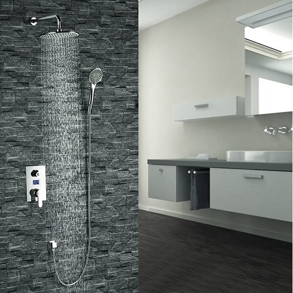 Mendoza Intelligent Thermostatic Complete Shower System with Rough-in Valve by FontanaShowers FontanaShowers