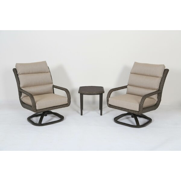 Mohr 3 Piece Rattan Sunbrella Seating Group with Cushions by Bayou Breeze