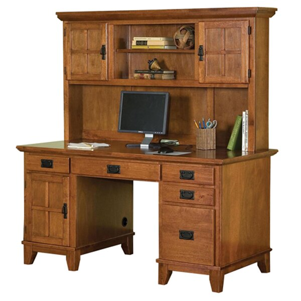 Ferryhill Pedestal Computer Desk with Hutch by Three Posts