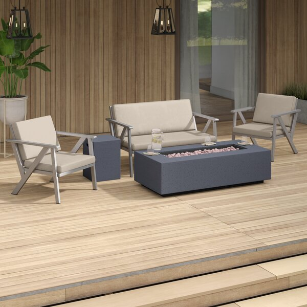 Lindell Outdoor 5 Piece Seating Group with Cushions by Mercury Row