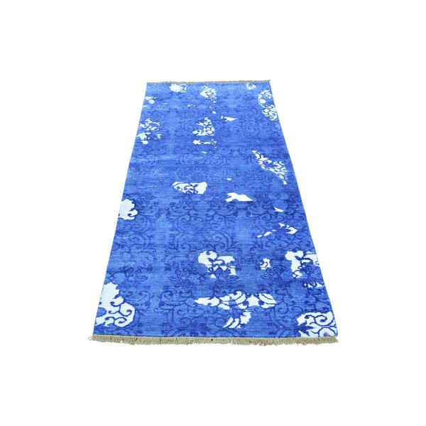 One-of-a-Kind Englewood Denim Modern Art Hand-Knotted Silk Blue Area Rug by World Menagerie