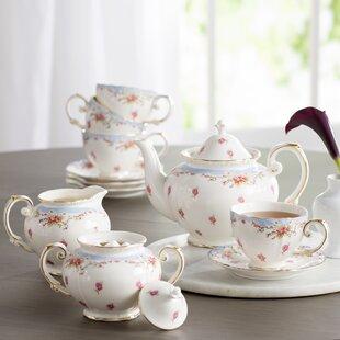 Hemby 11 Piece Vintage Blue Rose Porcelain Tea Set