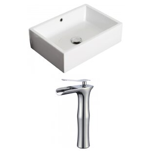 Find the perfect Ceramic Rectangular Vessel Bathroom Sink with Faucet and Overflow ByRoyal Purple Bath Kitchen