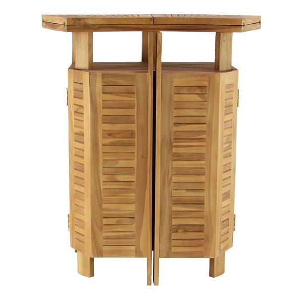 Kezia Rustic Teak Wood Extendable Bar Table by Bayou Breeze