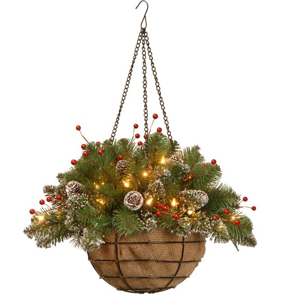 Pre-Lit Spruce Hanging Basket by Three Posts