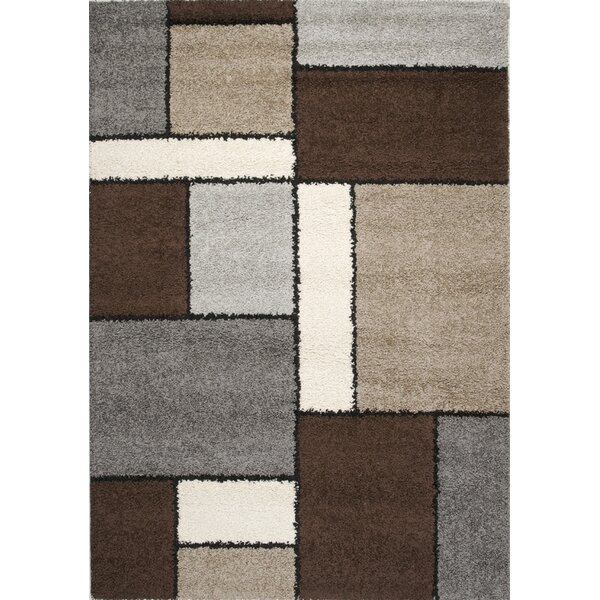 Channel Blocks II Frieze Gray/Beige Area Rug by Wrought Studio