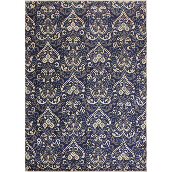One-of-a-Kind Hyacinth Peshawar Hand Knotted Wool Navy/Ivory Area Rug by House of Hampton