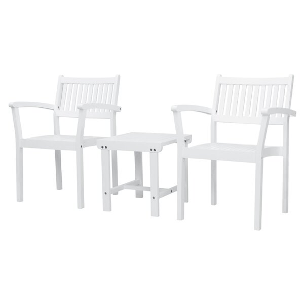 Amabel Patio Wood 3 Piece Seating Group by Beachcrest Home Beachcrest Home