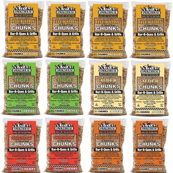 All Natural Flavored Wood Chunks (12 Pack) (Set of 12) by Smokehouse Products