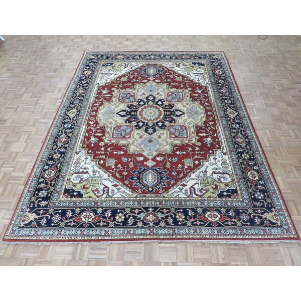 One-of-a-Kind Padro Heriz Hand-Knotted Rust Red Area Rug by Bloomsbury Market