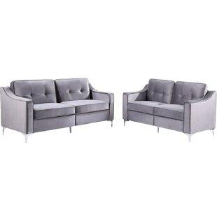 2 Pieces Tufted Velvet Upholstered Loveseat & 3 Seat Sofa by Mercer41