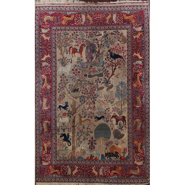One-of-a-Kind Hand-Knotted 1900s Tabriz Light Brown 10' x 12'10 Wool Area Rug