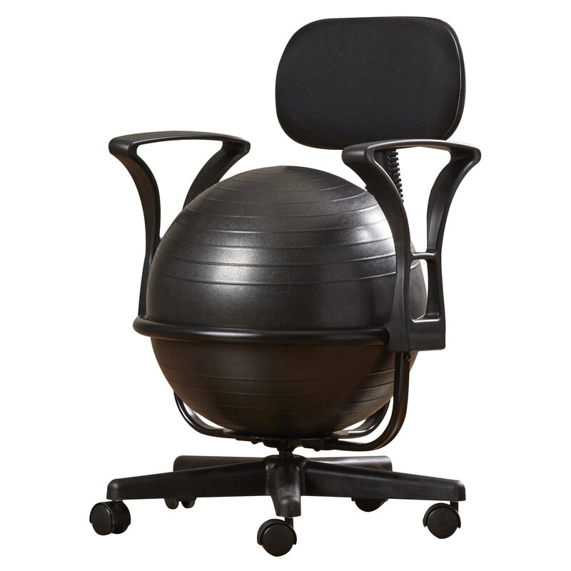 Symple stuff exercise ball chair reviews wayfair - Replacing office chair with exercise ball ...