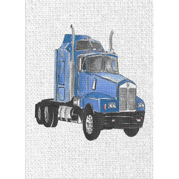 Truck Blue Area Rug