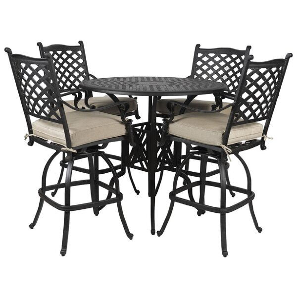 Colstrope 5 Piece Sunbrella Bar Height Dining Set with Cushions