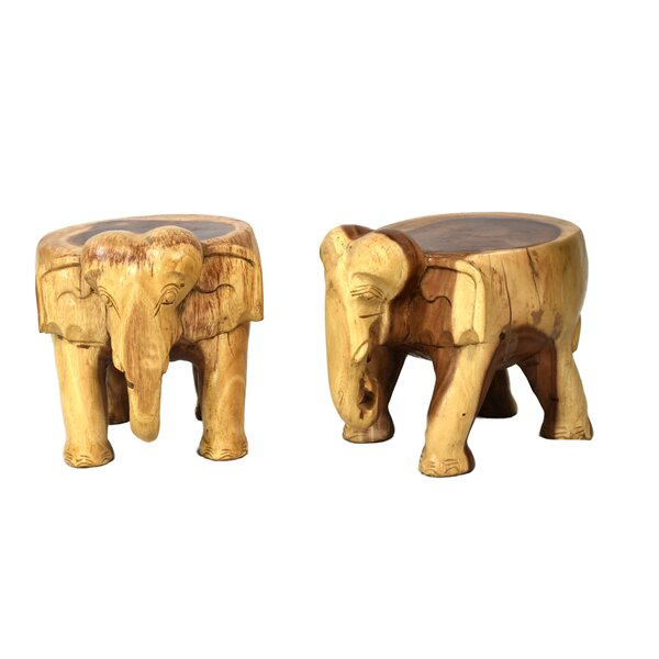 Nault Elephant Accent Stool (Set of 2) by Bloomsbury Market