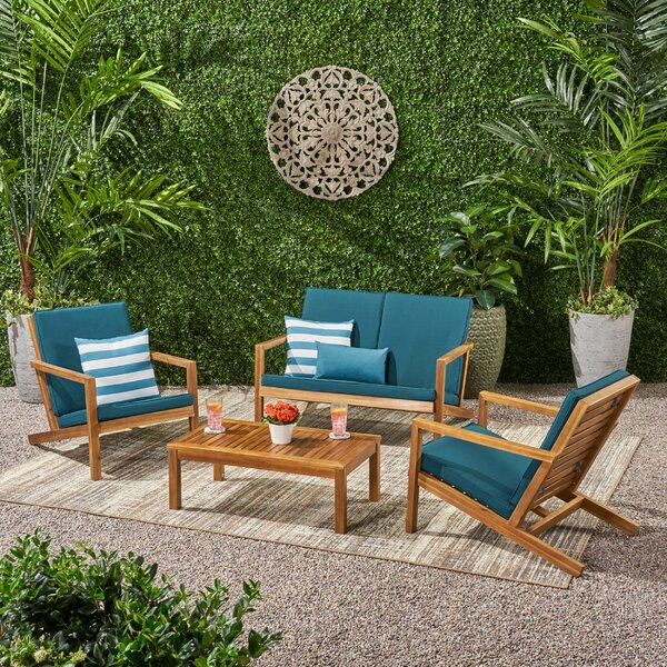 Emme Outdoor 4 Piece Sofa Seating Group with Cushions by Longshore Tides