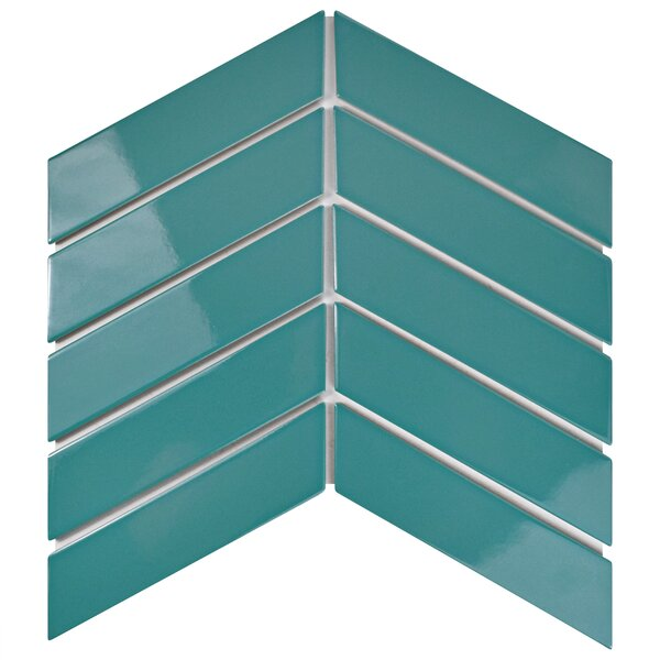Retro Soho Chevron 1.75 x 7 Porcelain Subway Tile in Glossy Teal by EliteTile