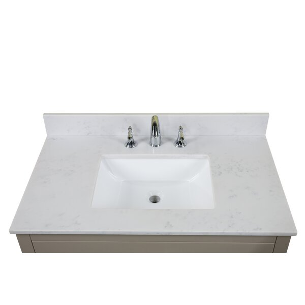 Carrara Quartz 37 Single Bathroom Vanity Top by Renaissance Vanity