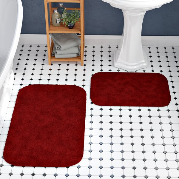 Stanley Red Bath Rug Set (Set of 2) by Charlton Home