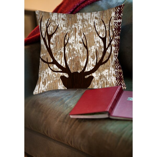 Printed Square Deer Throw Pillow by East Urban Home