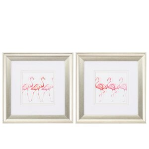 'Flamingo Trio' 2 Piece Framed Painting Print Art Set by Propac Images