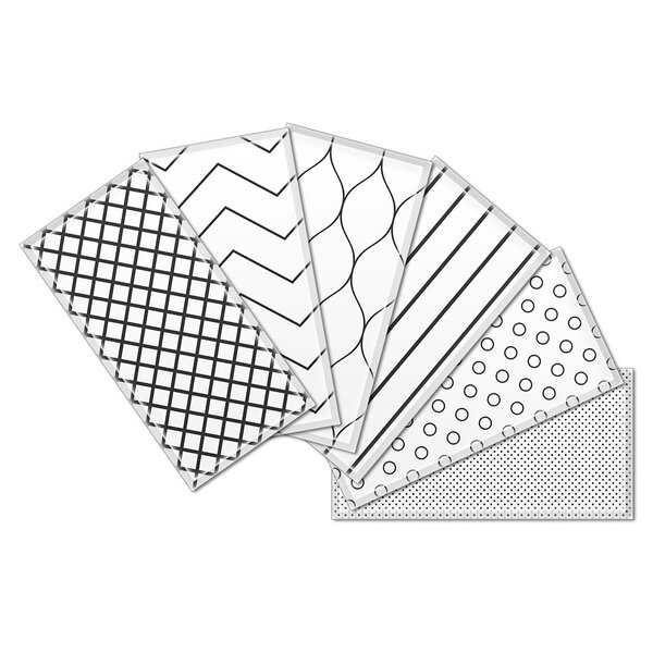 Custom 3 x 6 Beveled Glass Subway Tile in Black/White by Upscale Designs by EMA